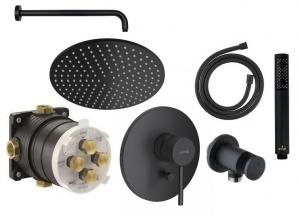 Czarny podtynkowy zestaw prysznicowy Kludi Bozz Black 200