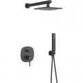 Laveo Polla zestaw prysznicowy podtynkowy z deszczownicą czarny BAP701P