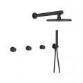 Laveo Pretto zestaw prysznicowy podtynkowy z deszczownicą czarny mat BAO704P