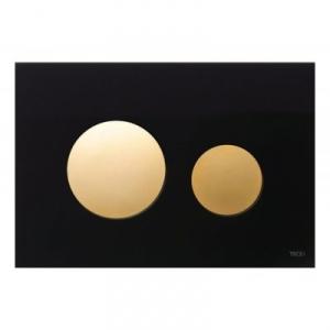 Tece Loop przycisk spłukujący do WC szkło czarne/ złoty 9.240.658