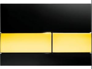 Tece Square przycisk do wc szkło czarne przycisnki złoty 9240808