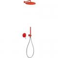 Tres Study Exclusive zestaw prysznicowy z baterią podtynkową czerwony 262.980.91.TRO