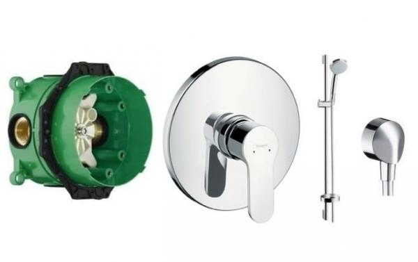 Hansgrohe Metris Puro podtynkowa bateria prysznicowa z zestawe prysznicowym na drążku.-image_Hansgrohe_10205000_1