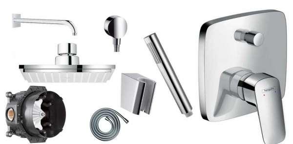 Podtynkowy komplet prysznicowy Hansgrohe Logis 150 - atutem zestawu jest metalowa słuchawka w kształcie patyczka.-image_Hansgrohe_HGR/LOGIS/150_1