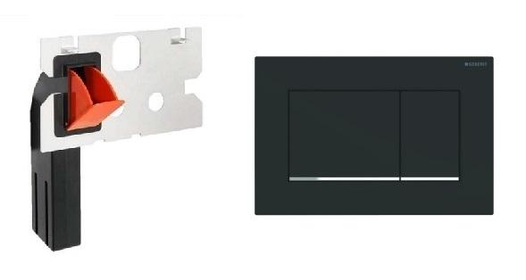 KOmplet przycisk spłukujący Geberit Sigma 30 w kolorze czarny mat z pojemnikiem na kostki higieniczne-image_Geberit + HomeMade__1