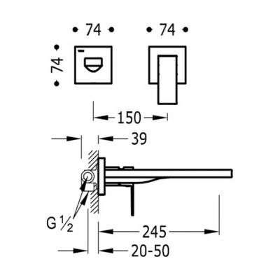 Wymiary techniczne podtynkowej baterii umywalkowej Tres Cuadro Black z długą wylewką 245mm-image_Tres baterie do kuchni i łazienki_006.200.11.NM_2