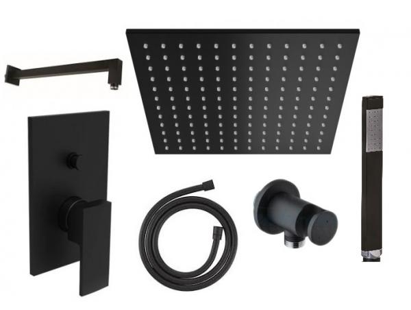 Czarny podtynkowy zestaw prysznicowy Paffoni ELLE Black z deszczownica 300