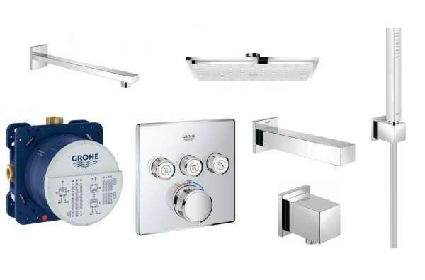 Podtynkowy zestaw prysznicowy Grohe GrohthermSmartcontrol z deszczownicą, słuchawką i wylewką wannową
