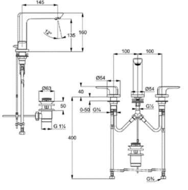 Wymiary techniczne baterii umywalkowej 3 otworowej Kludi Ameo-image_Kludi_413930575_5