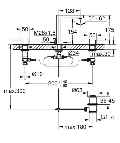Rysunek techniczny trzyotworowej baterii Grohe Plus 20301003-image_Grohe_20301003_2