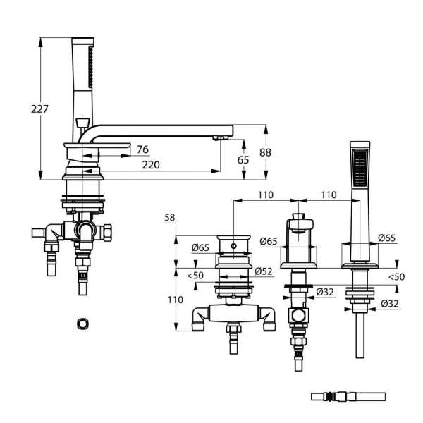 Wymiary techniczne baterii wannowej Kludi E2 494470575-image_Kludi_494470575_3