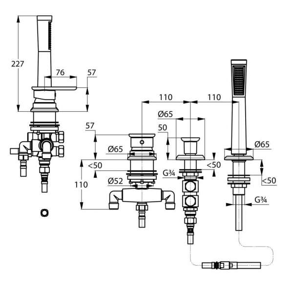 Wymiary techniczne baterii wannowo-natryskowej Kludi E2 494260575-image_Kludi_494260575_3