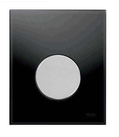 Szklany przycisk do pisuaru Tece Loop 9242655 - czarne szkło/chrom połysk-image_Tece_9.242.655_1