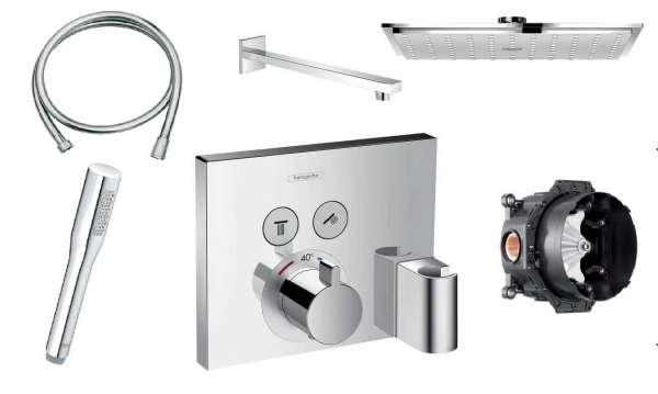 Termostatyczny podtynkowy zestaw prysznicowy z kwadratową deszczownicą i baterią Hansgrohe Showerselect.-image_Grohe/Hansgrohe_HGR/SHOWERS/230_1
