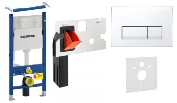 Geberit Duofix Basic w zestawie z przyciskiem Delta 51 w kolorze białym oraz kostkarka higieniczną.-image_Keramag_203430-000_1