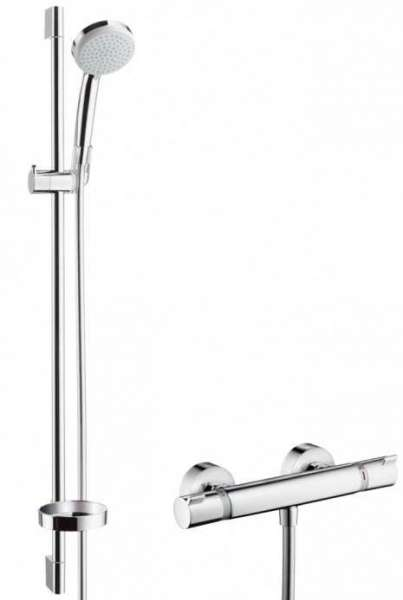 Hansgrohe Croma 100 Vario zestaw prysznicowy EcoSmart 27033000, wykończenie: chrom, ekonomiczy i ekologiczny zestaw prysznicowy z termostatem.-image_Hansgrohe_27033000_1
