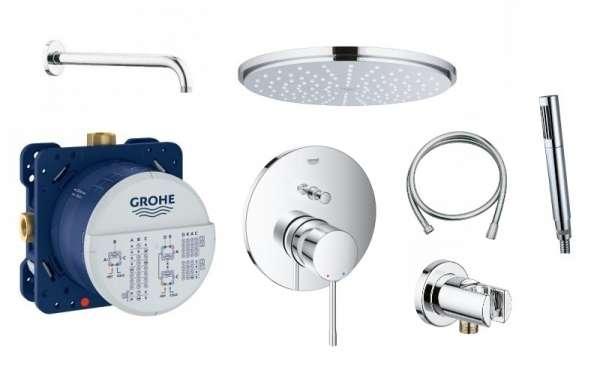 Grohe Essence Smart kompletny zestaw podtynkowy z deszczownicą i słuchawką-image_Grohe_24058001_1