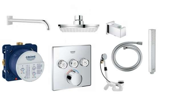 Podtynkowy termostatyczny zestaw prysznicowy do obsługi 3 odbiorników Grohe Grohtherm Smartcontrol-image_Grohe/Viega__1