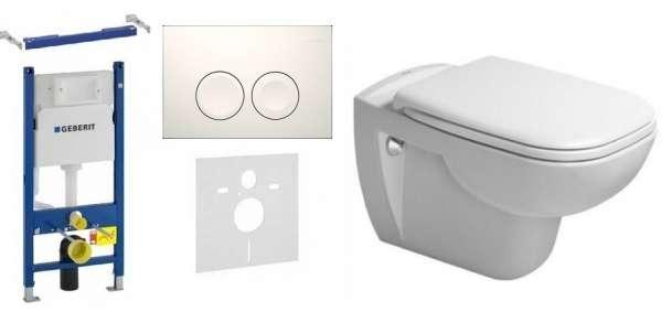 Zestaw do łazienki stelaż Duofix Basic ze wspornikami, przekładka akustyczną, przyciskiem Delta w kolorze białym oraz zestaw miska Duravit Dcode z deską wolnoopadającą -image_Geberit_GD21/DCode/W_1