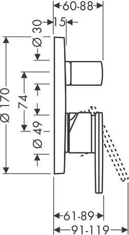 Rysunek techniczny baterii wannowej Hansgrohe Axor Citterio 39455000-image_Hansgrohe_39455000_3