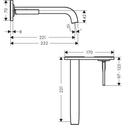 Rysunek techniczny baterii umywalkowej Citterio E 36114-image_Hansgrohe_36114000_3