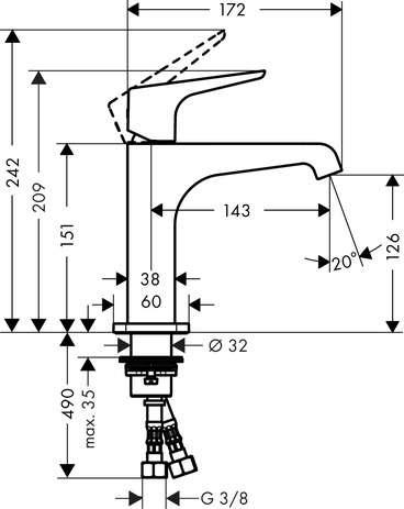 Wymiary techniczne baterii umywalkowej Citterio E 36111000-image_Hansgrohe_36111000_3