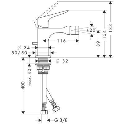 Rysunek techniczny baterii bidetowej Citterio 34210000-image_Hansgrohe_34210000_3