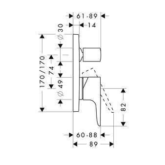 Rysunek techniczny podtynkowej baterii wannowej Hansgrohe Axor Citterio M 34425000-image_Hansgrohe_34425000_3