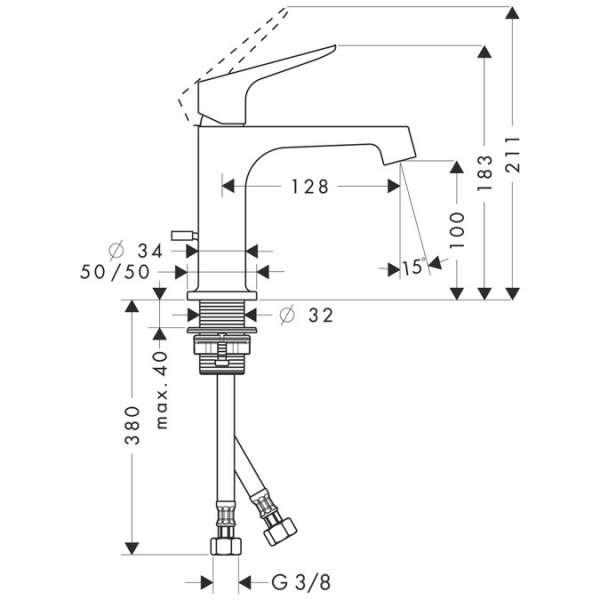 Rysunek techniczny baterii umywalkowej Hansgrohe Axor Citterio 34010000-image_Hansgrohe_34010000_3