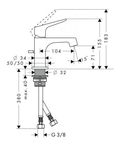 Rysunek techniczny baterii umywalkowej Hansgrohe Axor Citterio 34016000-image_Hansgrohe_34016000_3