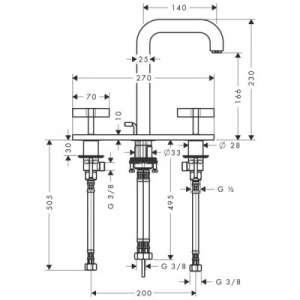 Rysunek techniczny baterii Hansgrohe Axor 39134000 -image_Axor_39134000_2