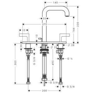 Rysunek techniczny baterii umywalkowej Hansgrohe Axor Citterio-image_Axor_39136000_2