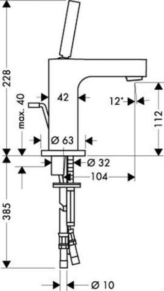 Rysunek techniczny baterii umywalkowej Hansgrohe Axor Citterio 39010000-image_Hansgrohe_39010000_3
