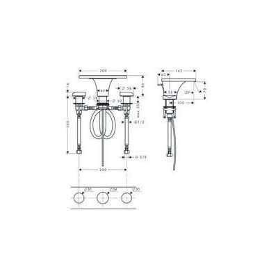 Rysunek techniczny baterii 3 otworowej Massaud-image_Hansgrohe_18013000_3
