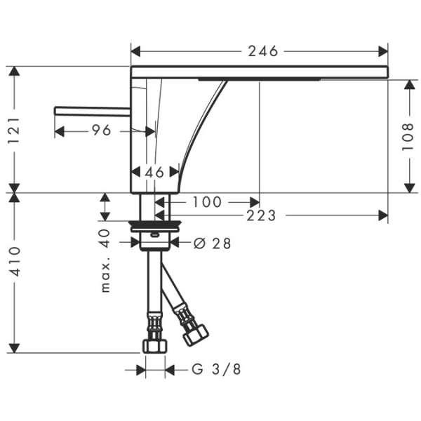 Wymiary techniczne baterii umywalkowej Hansgrohe Axor Massaud 18010000-image_Hansgrohe_18010000_3
