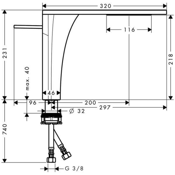 Wymiary techniczne baterii umywalkowej wysokiej Hansgrohe Axor Massaud 18020000-image_Hansgrohe_18020000_3