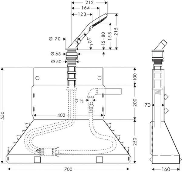 Rysunek technniczny zestawu na brzeg wanny Secuflex 19418000-image_Hansgrohe_19418000_3