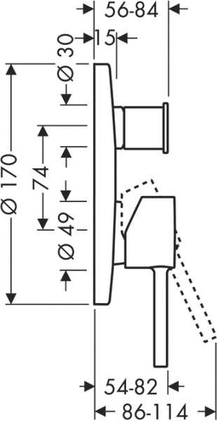 Rysunek techniczny baterii wannowej Hansgrohe Axor Starck 10416000-image_Hansgrohe_10416000_3