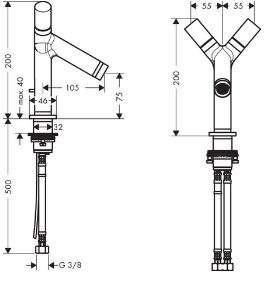 rysunek techniczny baterii Axor Starck dwuuchwytowej 10030000-image_Hansgrohe_10030000_3