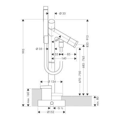 rysunek techniczny baterii Axor Starck 10458000-image_Hansgrohe_10458000_3