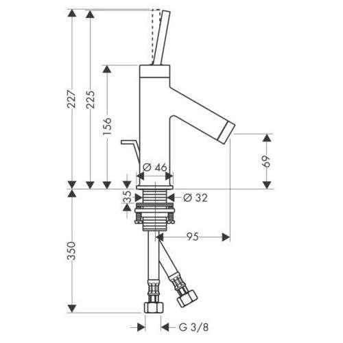 Rysunek techniczny baterii Hansgrohe Starck 10116000-image_Hansgrohe_10116000_3