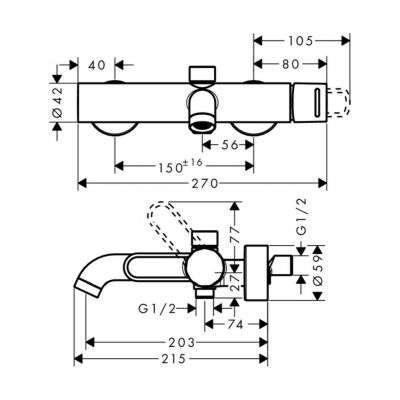 Rysunek techniczny baterii wannowej 38421000-image_Hansgrohe_38421000_2