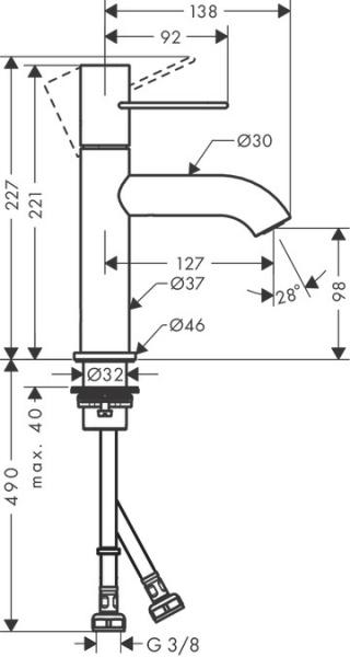 Rysunek techniczny baterii umywalkowej Axor Uno 100 38026000-image_Axor_38026000_2