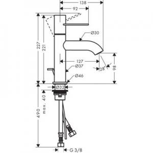 Rysunek techniczny baterii Axor Uno 100 38023820-image_Axor_38023820_2