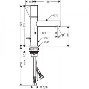Rysunek techniczny baterii Axor Uno 110 45001000-image_Axor_45001000_2