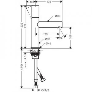 Dane techniczne baterii Axor Uno 110 45002000-image_Axor_45002000_2