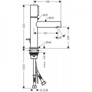 Rysunek techniczny baterii Axor Uno 110 45010000-image_Axor_45010000_2