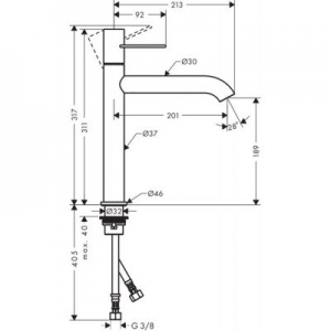 Dane techniczne baterii Axor Uno 190 38032820-image_Axor_38032820_2