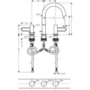 Rysunek techniczny baterii Axor Uno 200  38054820-image_Axor_38054820_2