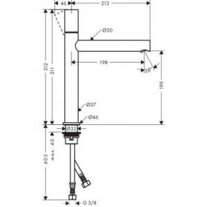 Rysunek techniczny baterii Axor Uno 200 45003000-image_Axor_45003000_2